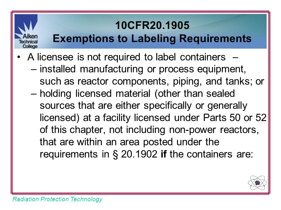 10CFR20.1905 Exemptions to Labeling Requirements