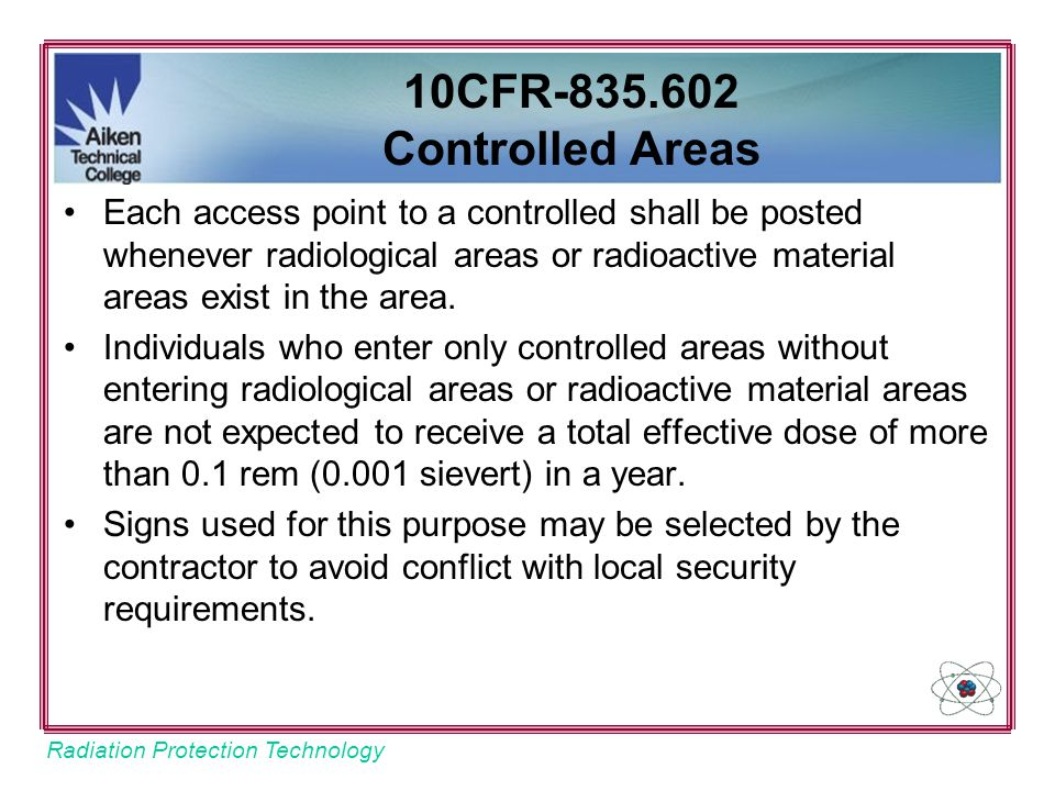 10CFR-835.602 Controlled Areas