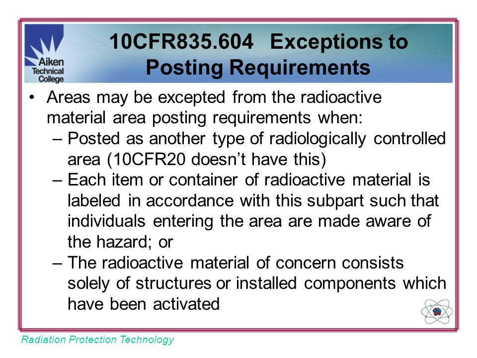 10CFR835.604 Exceptions to Posting Requirements