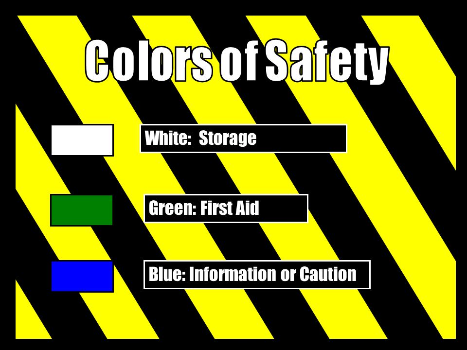 Colors of Safety White: Storage Green: First Aid