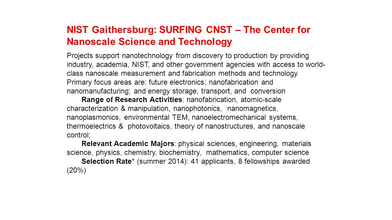 NIST Gaithersburg: SURFING CNST – The Center for Nanoscale Science and Technology
