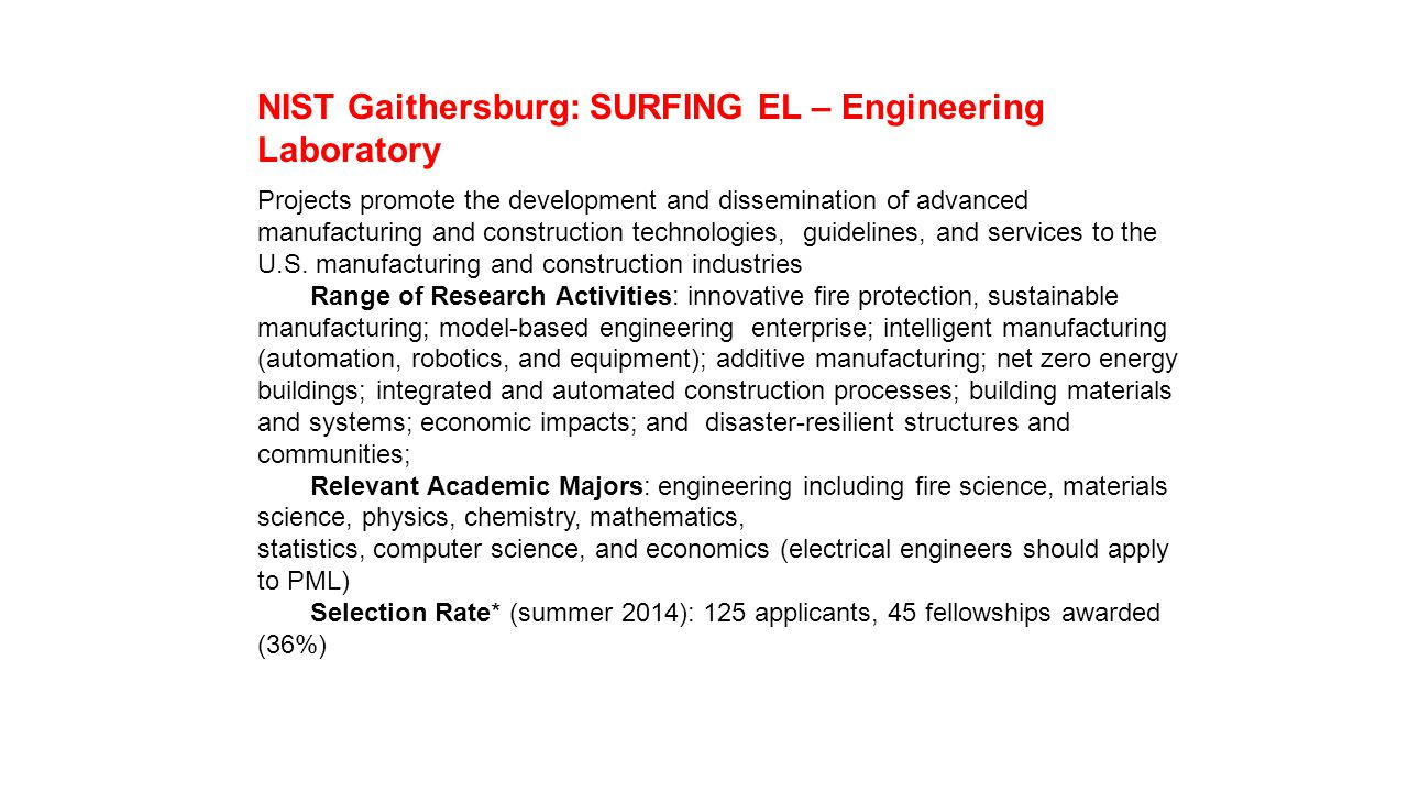 NIST Gaithersburg: SURFING EL – Engineering Laboratory