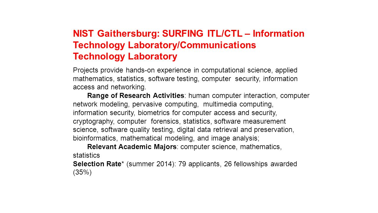 NIST Gaithersburg: SURFING ITL/CTL – Information Technology Laboratory/Communications Technology Laboratory