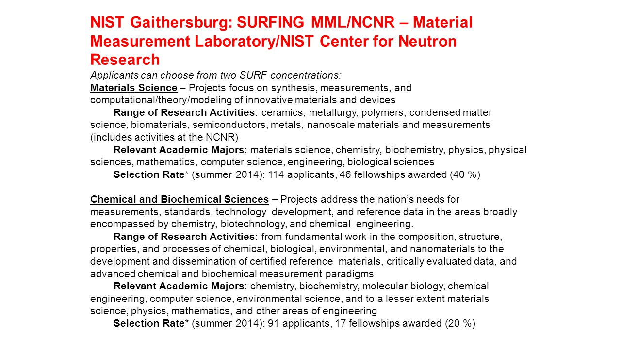 NIST Gaithersburg: SURFING MML/NCNR – Material Measurement Laboratory/NIST Center for Neutron Research