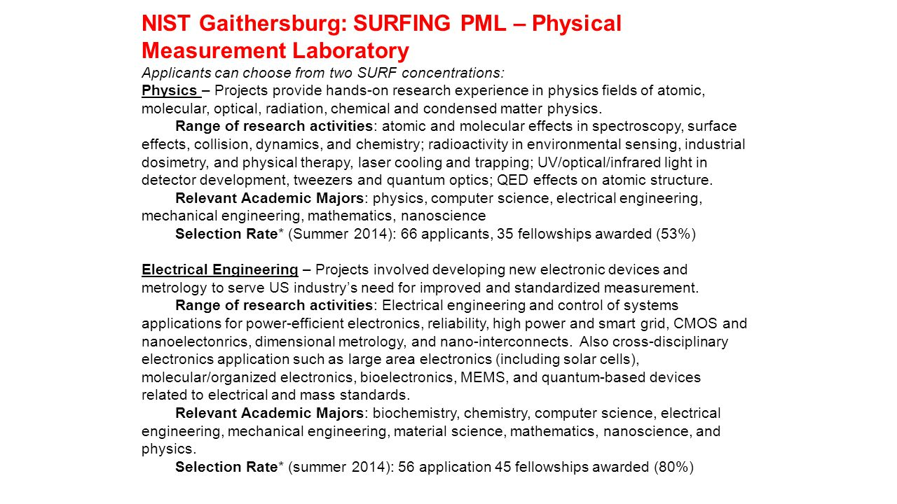 NIST Gaithersburg: SURFING PML – Physical Measurement Laboratory