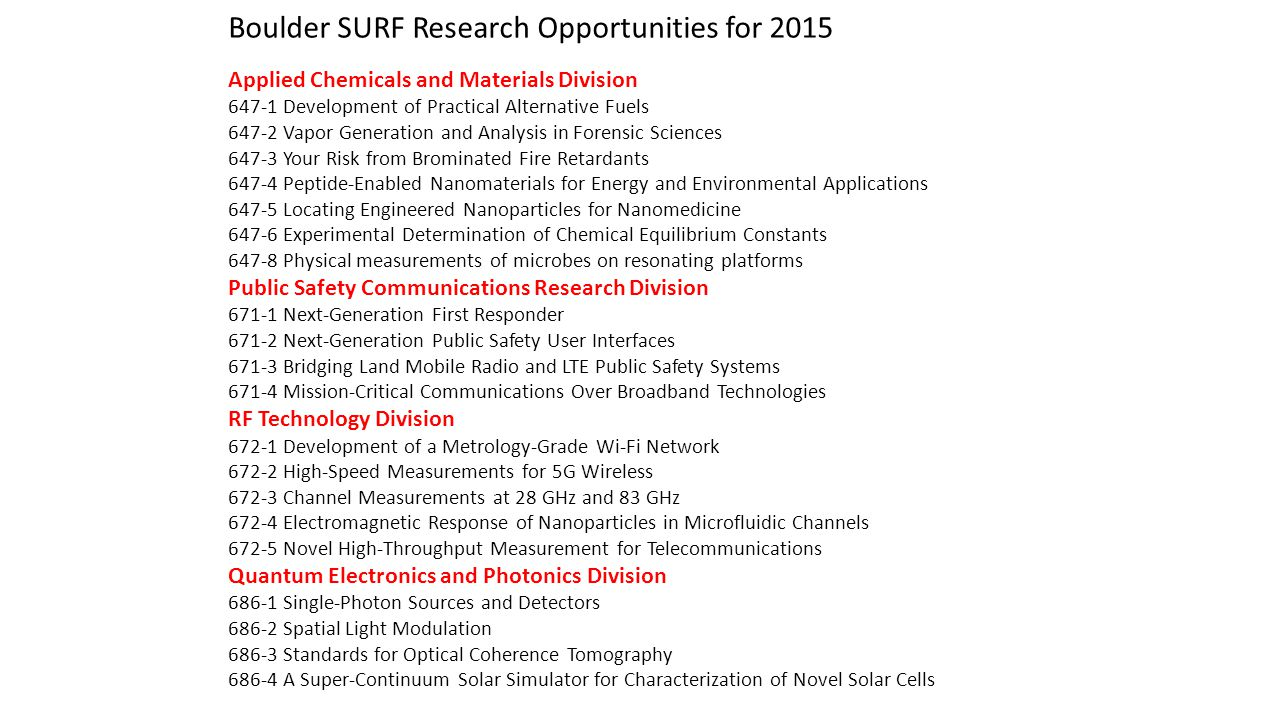 Boulder SURF Research Opportunities for 2015