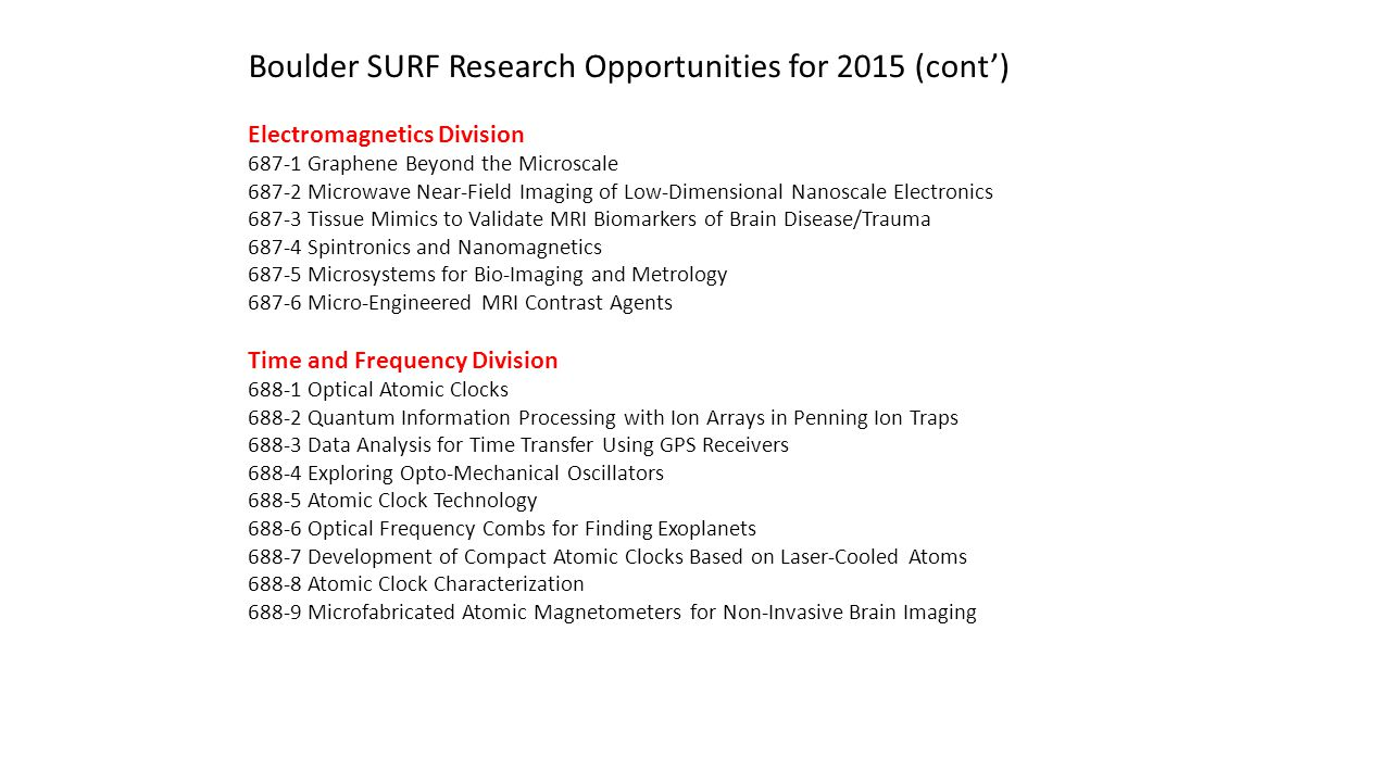 Boulder SURF Research Opportunities for 2015 (cont')