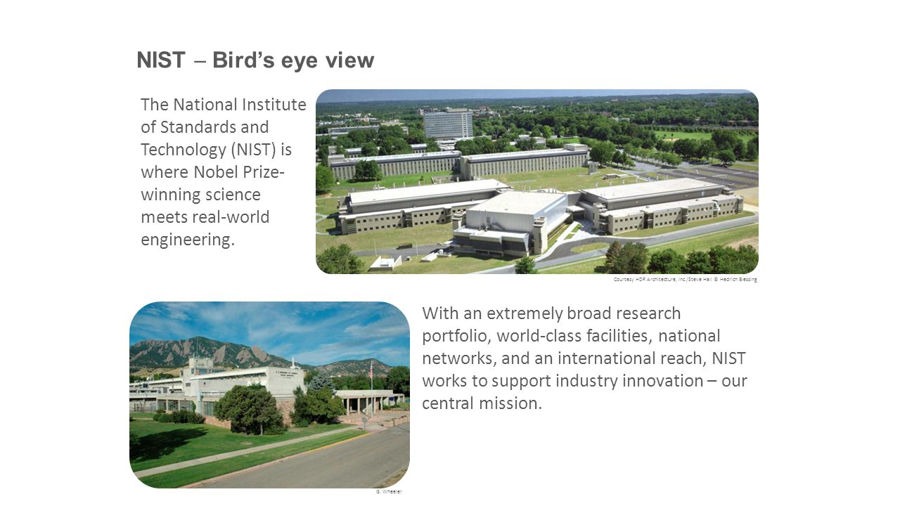 NIST  Bird's eye view The National Institute of Standards and Technology (NIST) is where Nobel Prize-winning science meets real-world engineering.