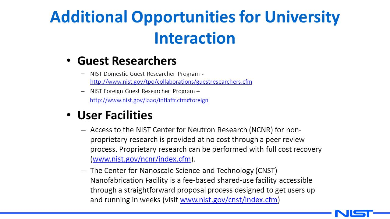 Additional Opportunities for University Interaction