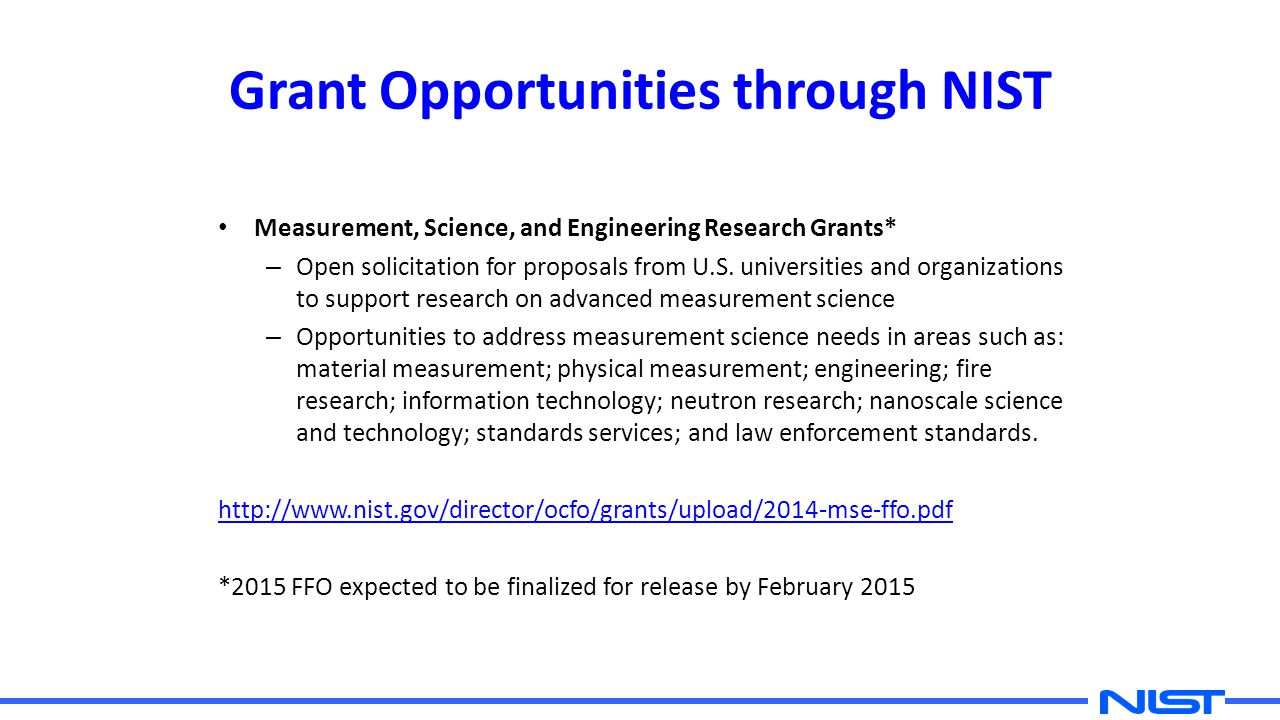 Grant Opportunities through NIST