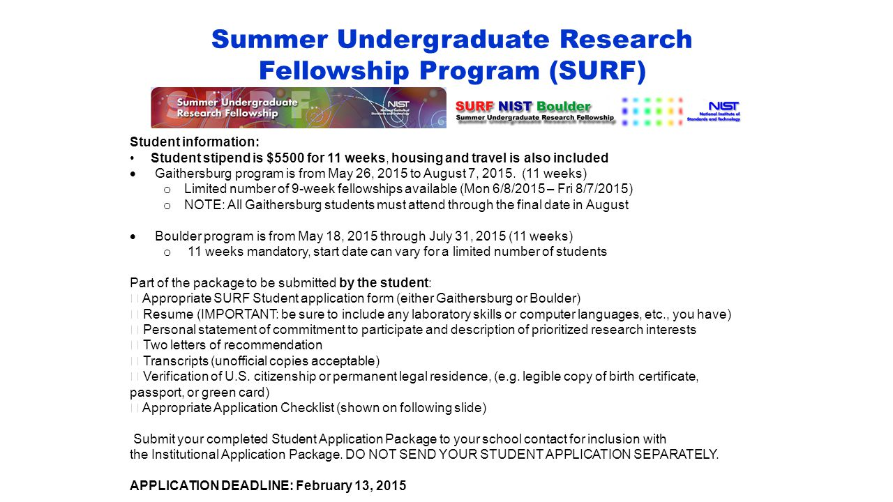 Summer Undergraduate Research Fellowship Program (SURF)