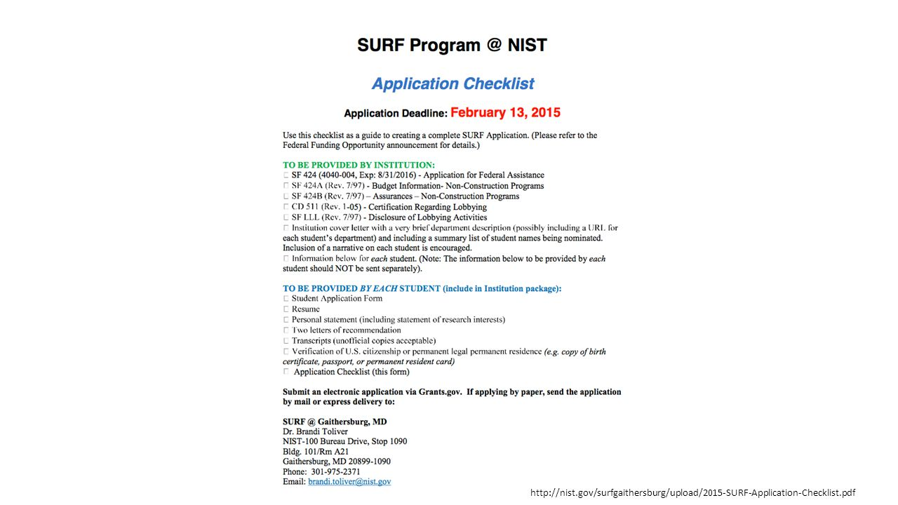 http://nist.gov/surfgaithersburg/upload/2015-SURF-Application-Checklist.pdf