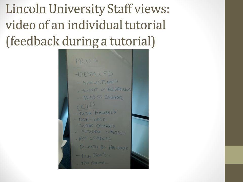 Lincoln University Staff views: video of an individual tutorial (feedback during a tutorial)