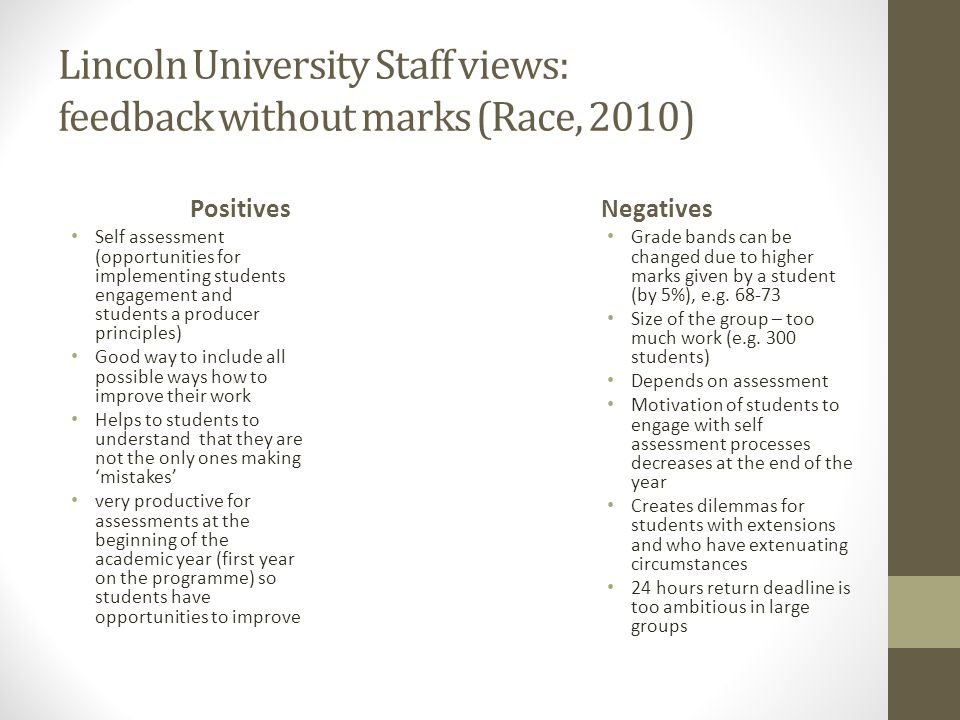 Lincoln University Staff views: feedback without marks (Race, 2010)