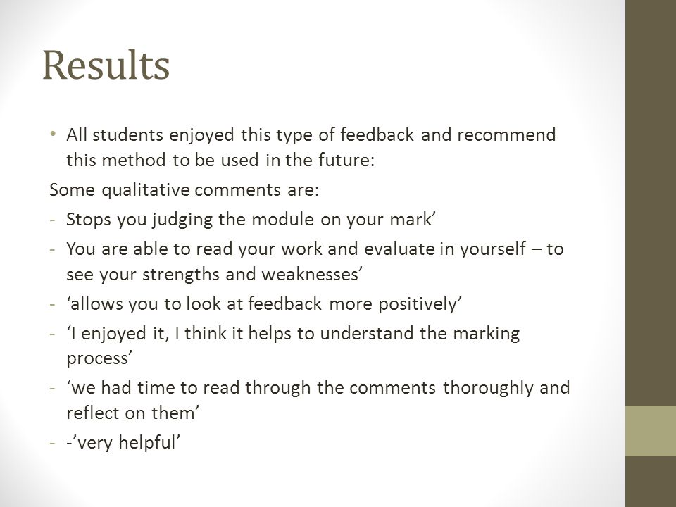 Results All students enjoyed this type of feedback and recommend this method to be used in the future: