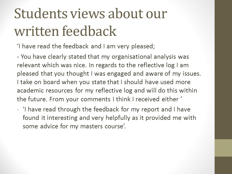 Students views about our written feedback