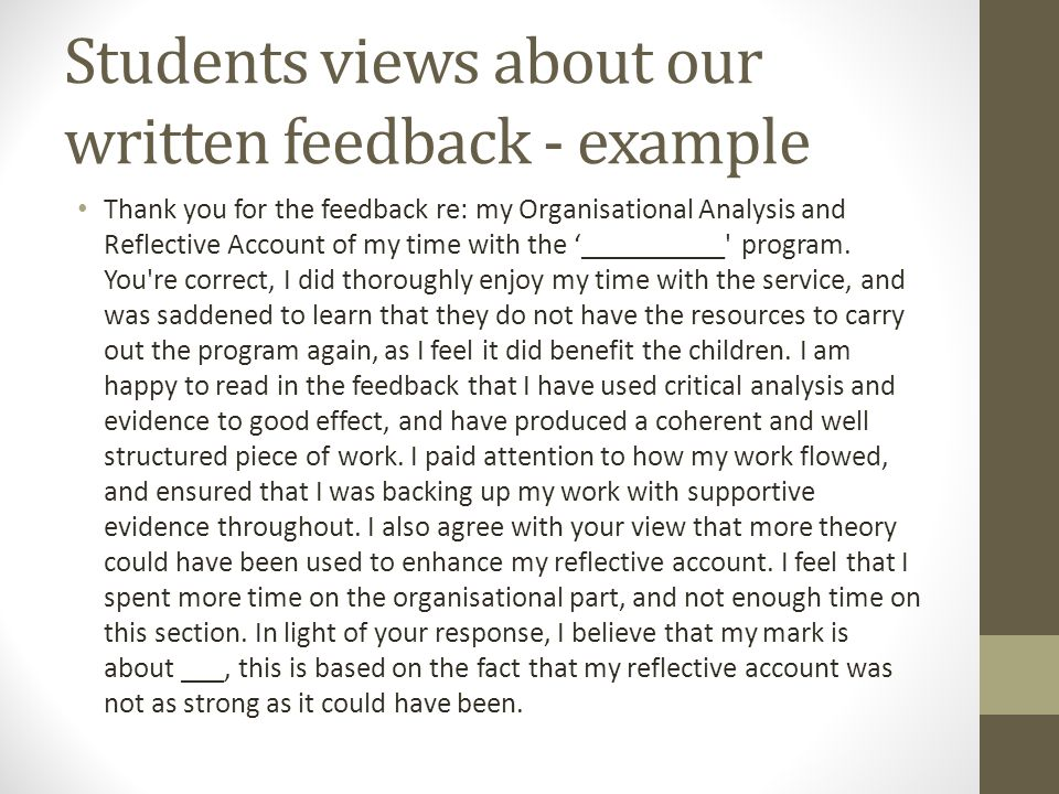 Students views about our written feedback - example