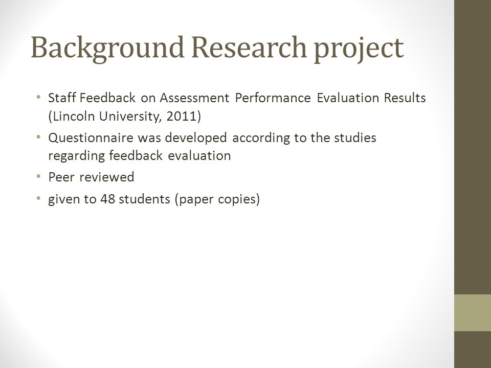 Background Research project