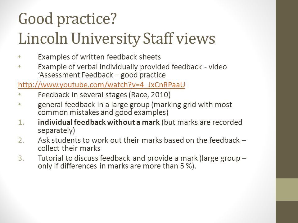 Good practice Lincoln University Staff views