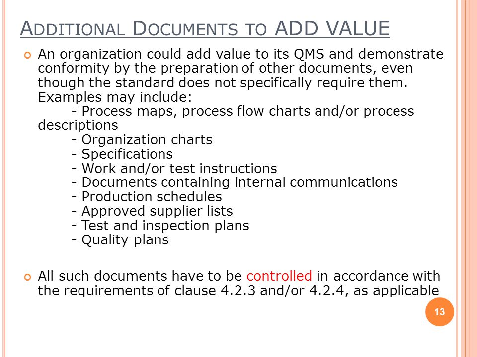 Additional Documents to ADD VALUE
