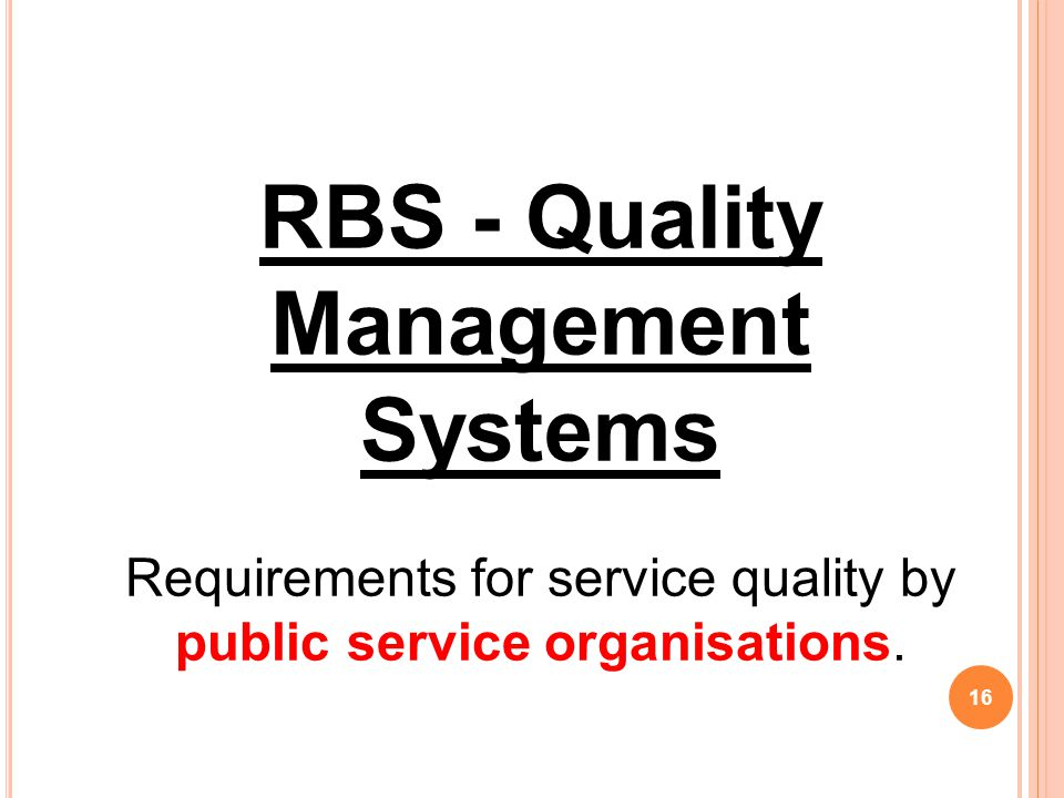 RBS - Quality Management Systems
