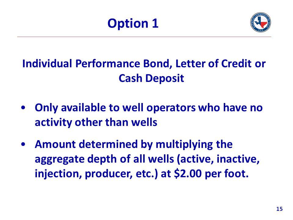 Individual Performance Bond, Letter of Credit or Cash Deposit