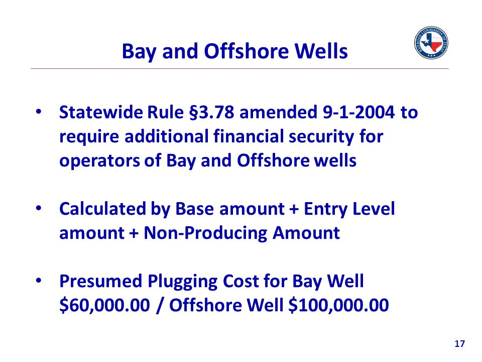 Bay and Offshore Wells Statewide Rule §3.78 amended 9-1-2004 to require additional financial security for operators of Bay and Offshore wells.