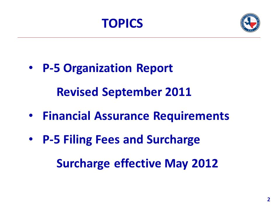 TOPICS P-5 Organization Report Revised September 2011