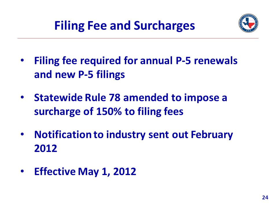 Filing Fee and Surcharges