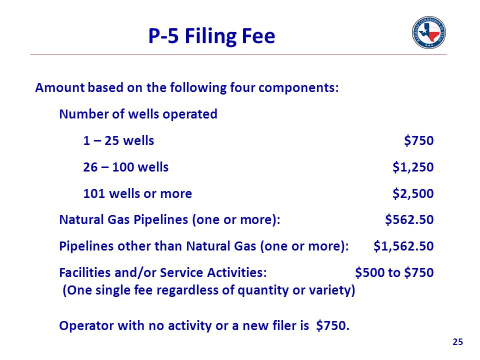 P-5 Filing Fee Amount based on the following four components: