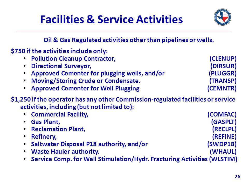 Facilities & Service Activities