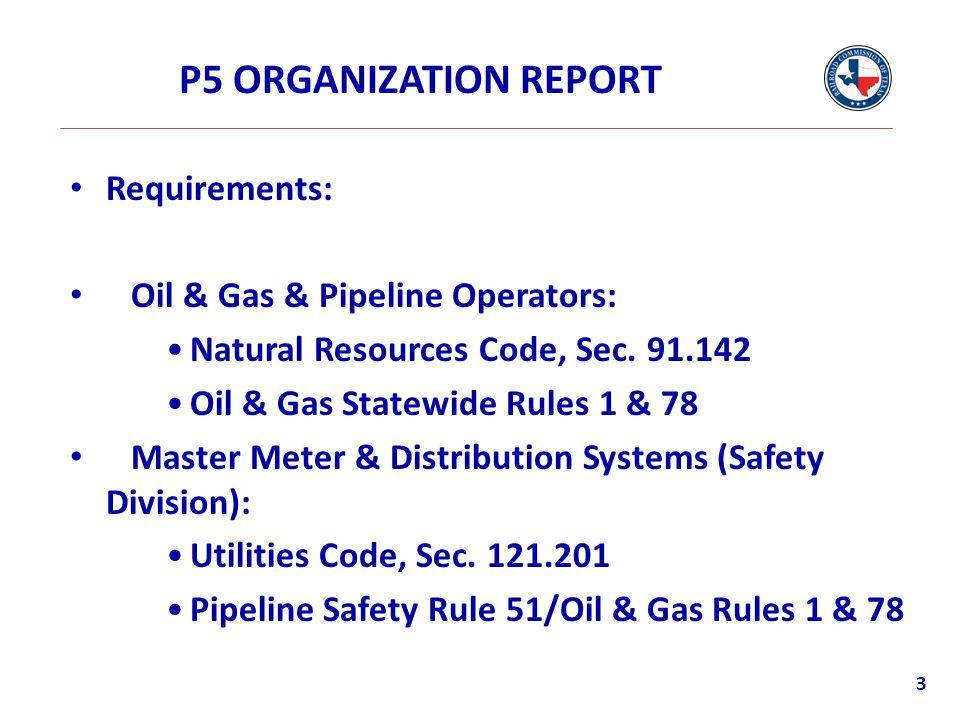 P5 ORGANIZATION REPORT Requirements: Oil & Gas & Pipeline Operators: