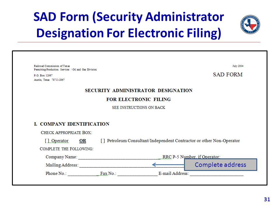 SAD Form (Security Administrator Designation For Electronic Filing)
