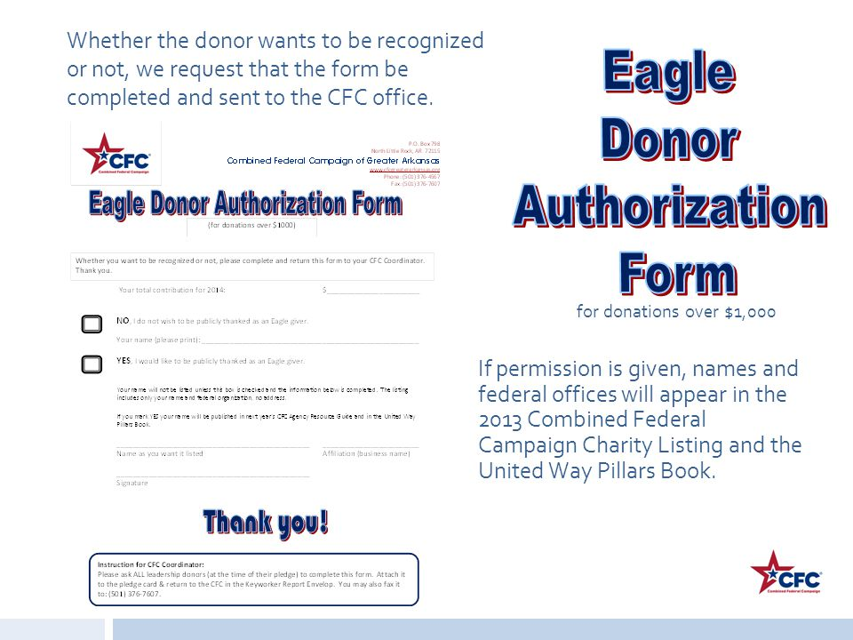 Eagle Donor Authorization Form for donations over $1,000