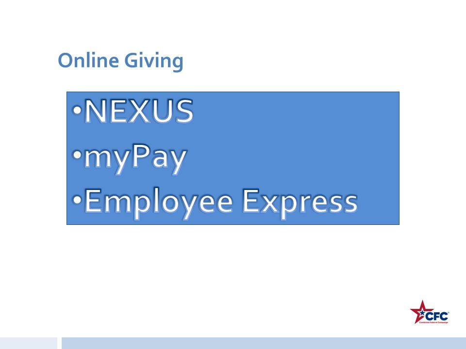 Online Giving NEXUS myPay Employee Express