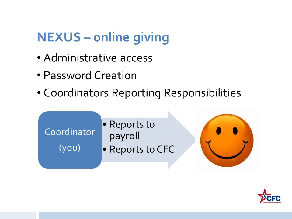 NEXUS – online giving Administrative access Password Creation