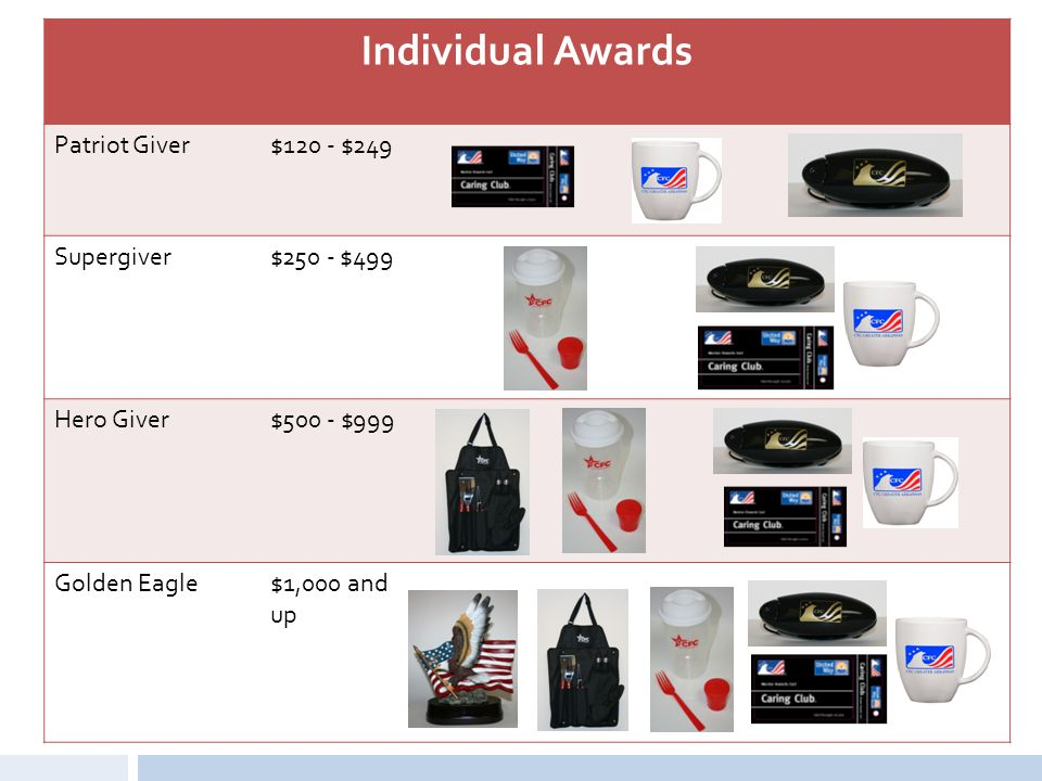 Individual Awards Patriot Giver $120 - $249 Supergiver $250 - $499