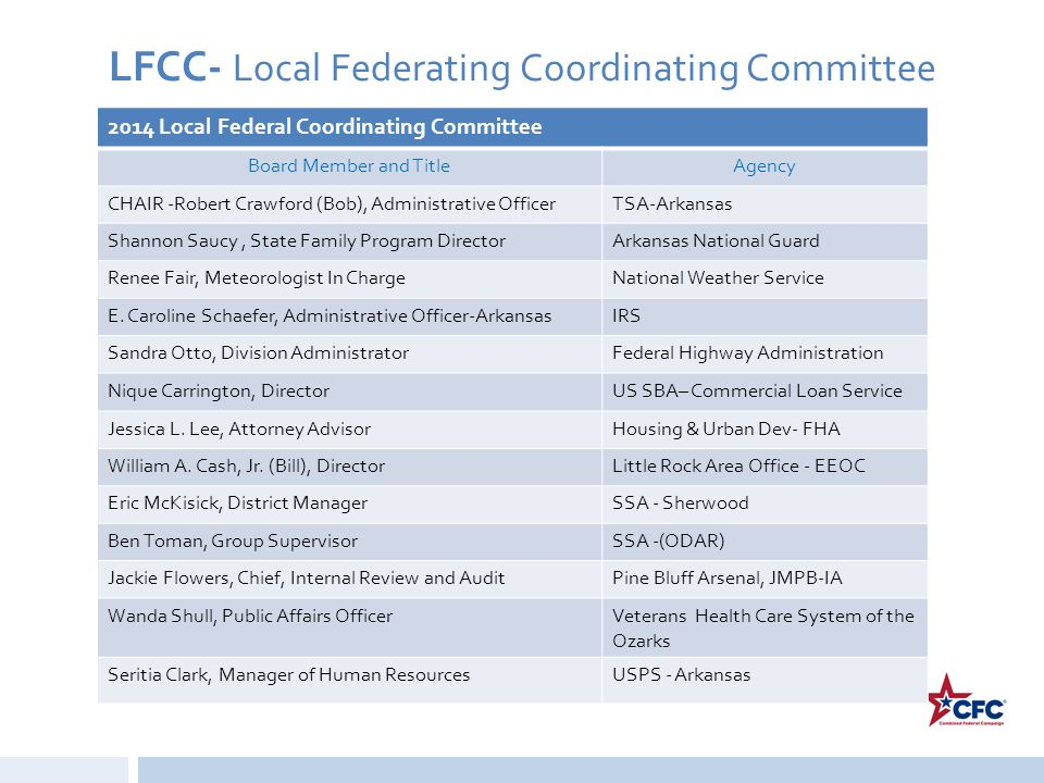 LFCC- Local Federating Coordinating Committee