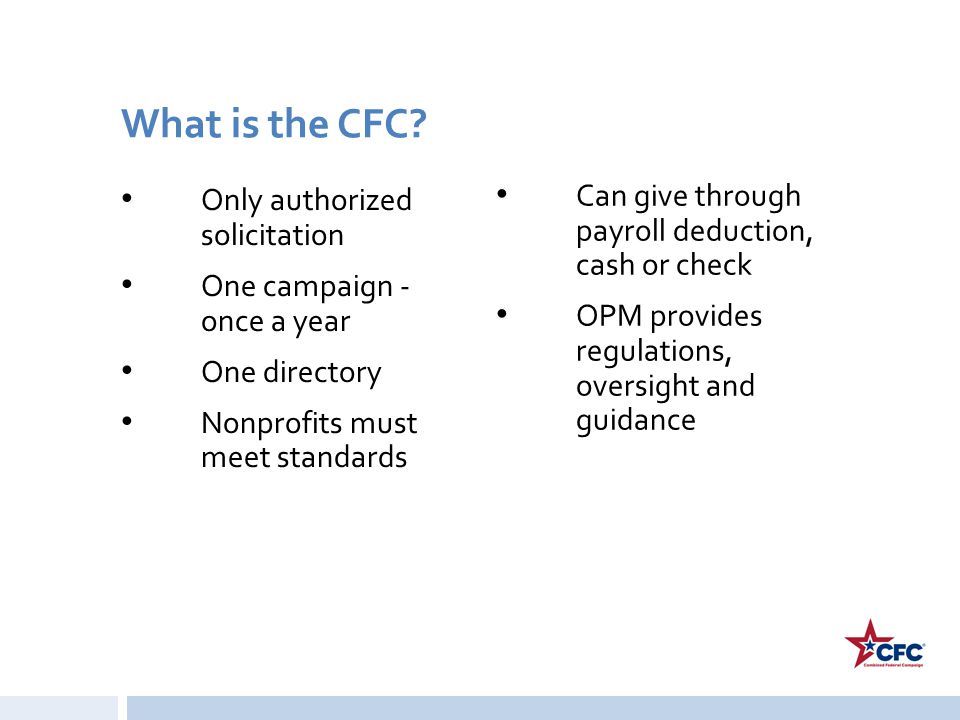 What is the CFC Can give through payroll deduction, cash or check