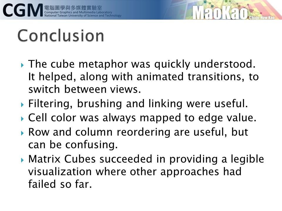 Conclusion The cube metaphor was quickly understood. It helped, along with animated transitions, to switch between views.