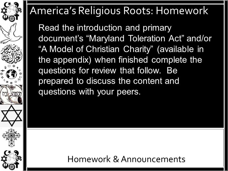 America's Religious Roots: Homework