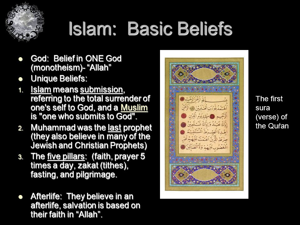 Islam: Basic Beliefs God: Belief in ONE God (monotheism)- Allah