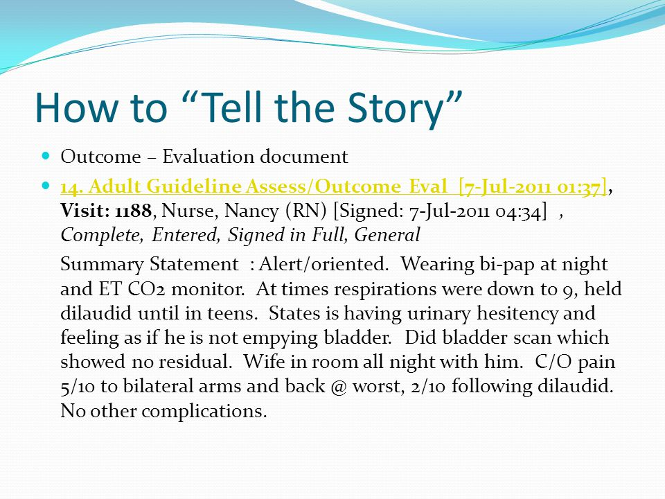 How to Tell the Story Outcome – Evaluation document