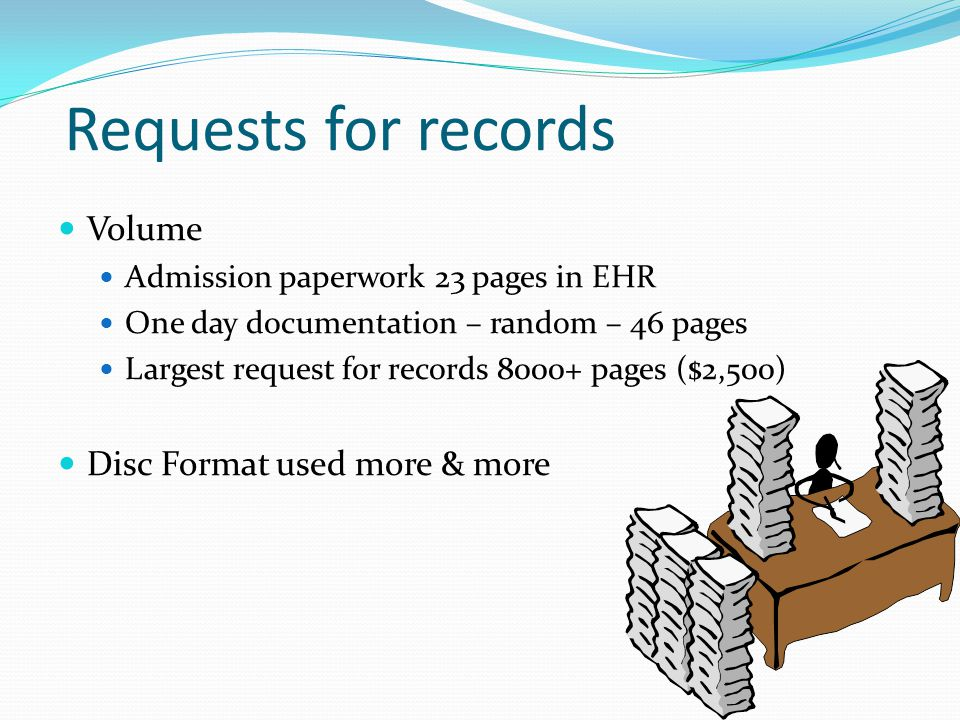 Requests for records Volume Disc Format used more & more