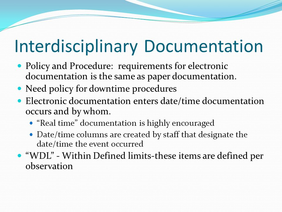 Interdisciplinary Documentation