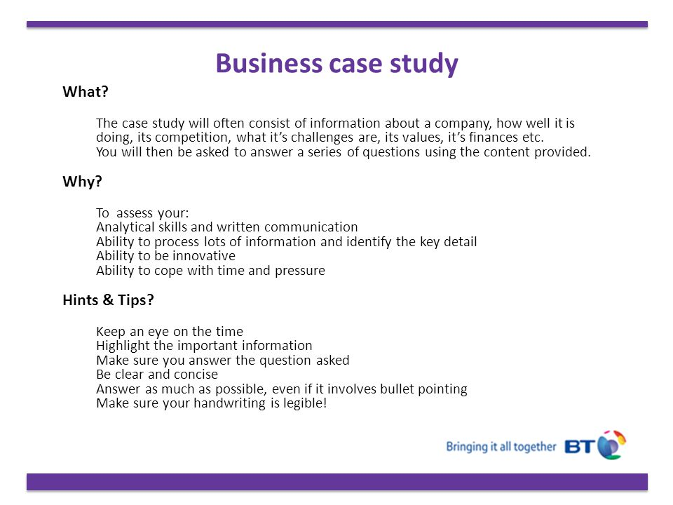 Business case study What Why Hints & Tips