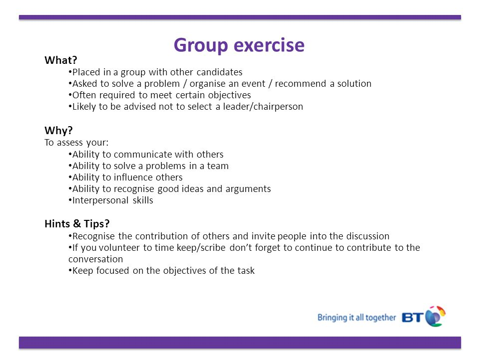 Group exercise What Why Hints & Tips