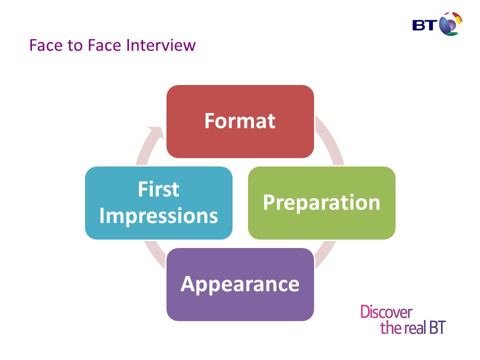 Face to Face Interview Format Most located at employers offices