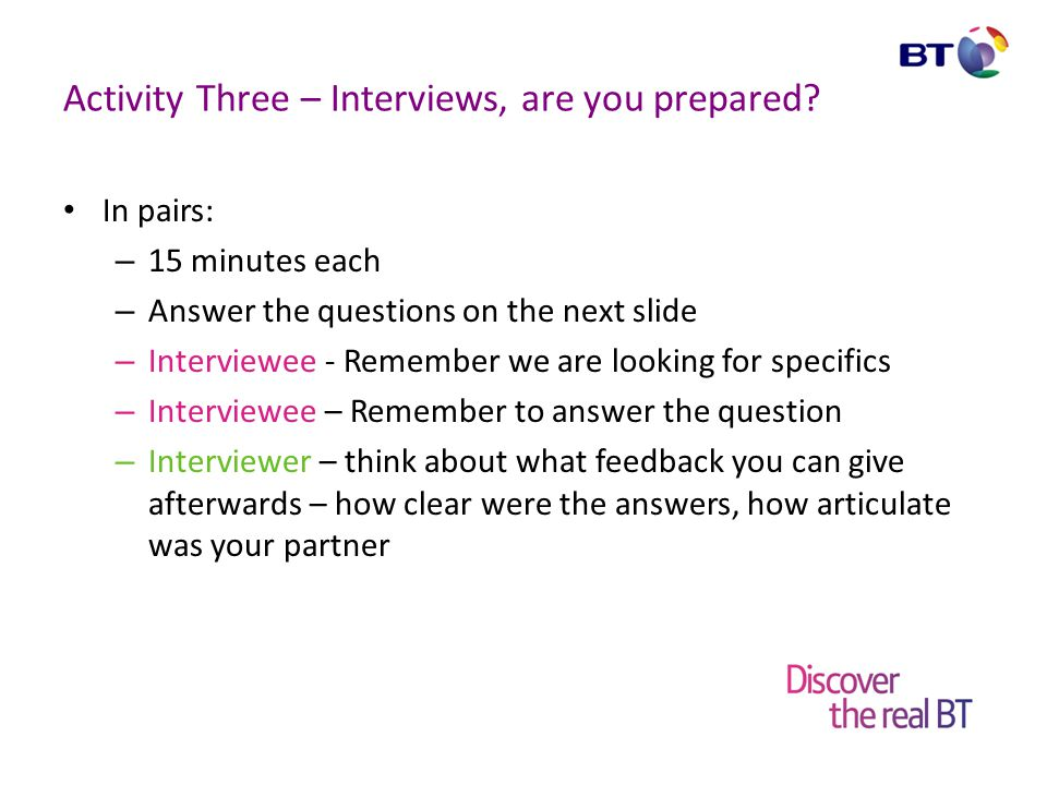 Activity Three – Interviews, are you prepared