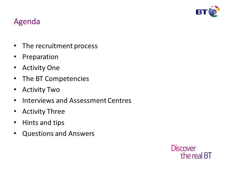 Agenda The recruitment process Preparation Activity One